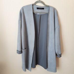 Zara faux suede light blue jacket drape coat